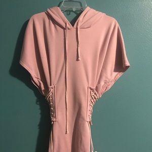 Pink hoodie dress